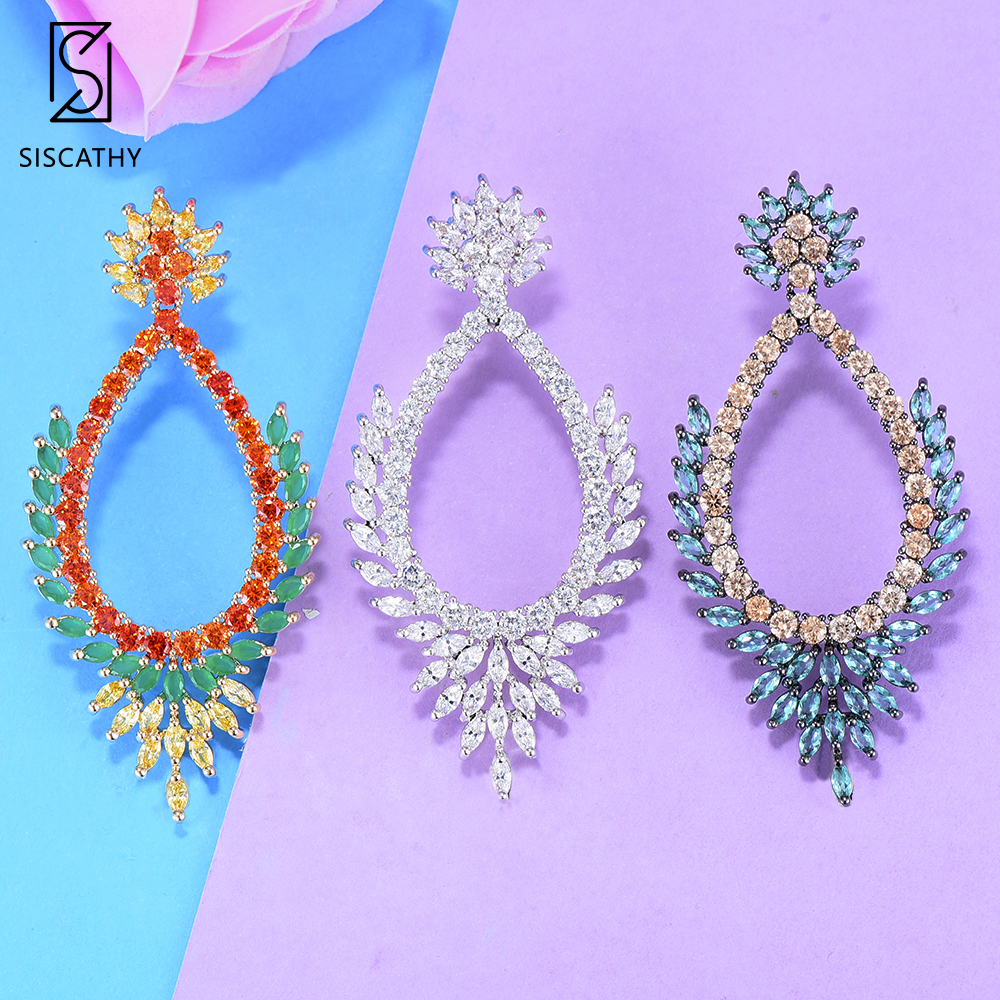 SisCathy 3Colors AAA Cubic Zirconia Earrings Stud Luxury Femme Bohemia Crystal Earrings for Women 2019 New Design indian Jewelry in Stud Earrings from Jewelry Accessories