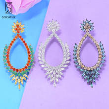 SisCathy 3Colors AAA Cubic Zirconia Earrings Stud Luxury Femme Bohemia Crystal for Women 2019 New Design indian Jewelry