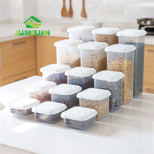 JiangChaoBo 1 Pc Tea Bean Grain Spice Food Grain Plastic Storage Box For Kitchen Fridge Container