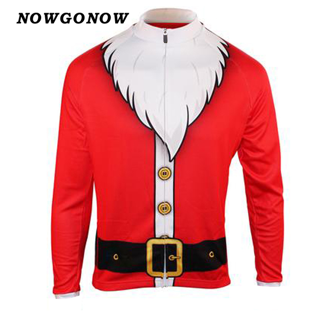 Men summer cycling jersey bike wear clothing red Christmas Santa Claus long  sleeve white hot road Breathable top NOWGONOW d88923c9d