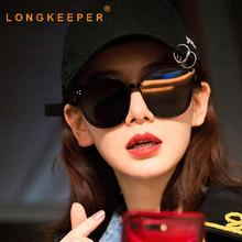 LongKeeper Luxury Cat Eye Sunglasses Women Round Sun Glasses Brand Designer Fashion Colour Eyewear UV400