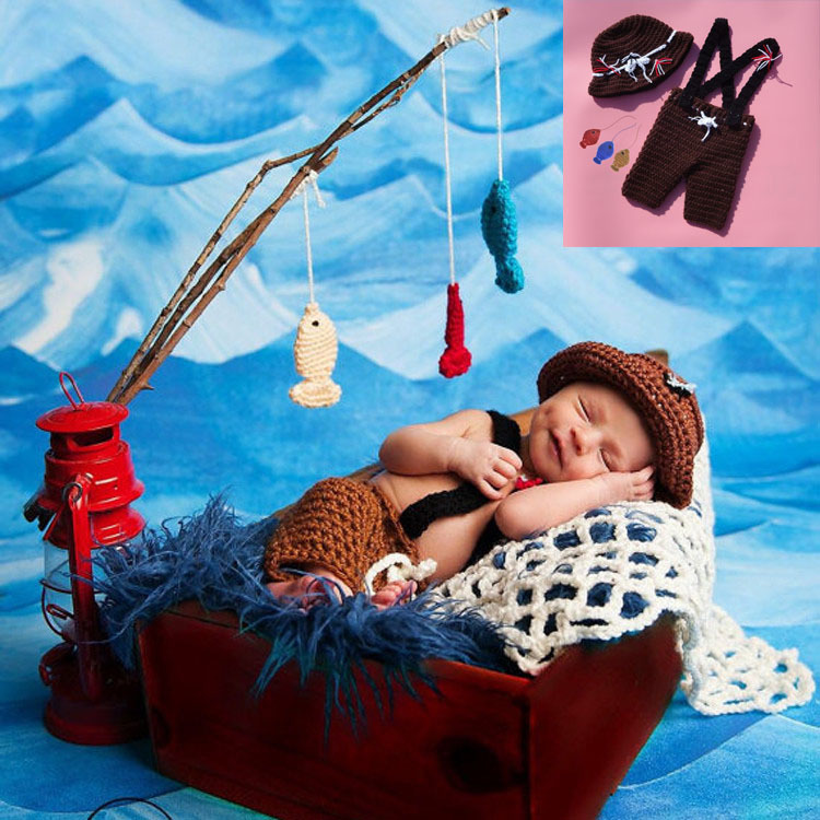 Coffee color baby boy fishing outfit set crochet newborn for Baby fishing outfit