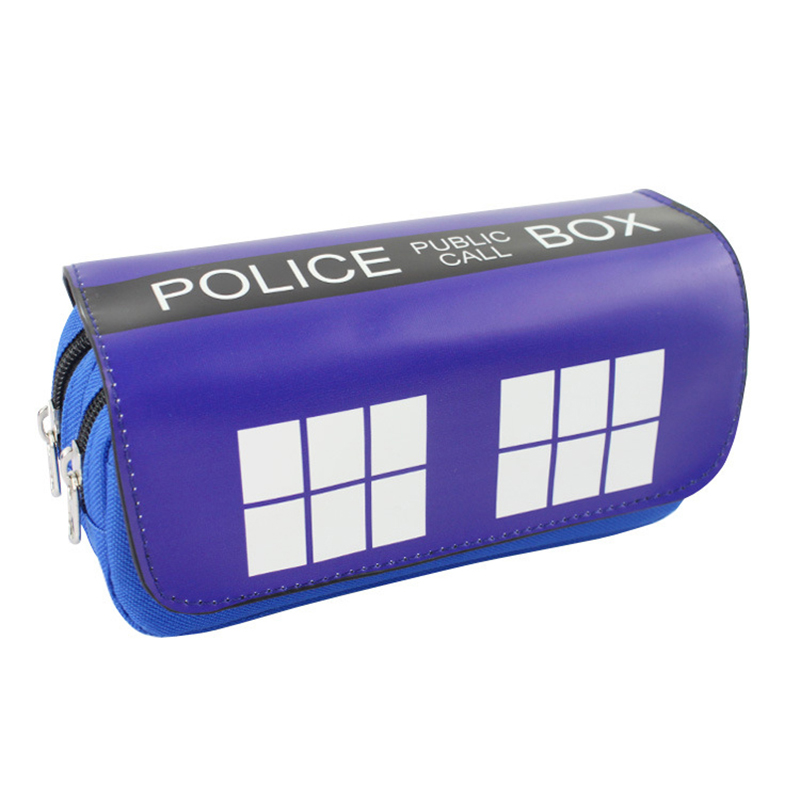 Anime Dr Mysterious Pen Bag Purse Blue Box Big Capacity Double  Zipper Pencil Case Stationery PU Leather Doctor Who Cosmetic Bag