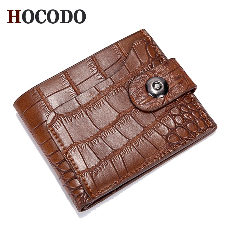 HOCODO Men Wallets Short Coin-Pocket Purse Card-Holder Money-Bag Clutch Vintage Male