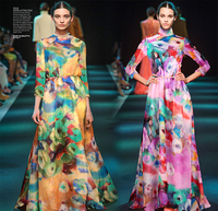 Wholesale 5Meters Lot Width 135cm 100 Real Mulberry Silk Koshibo Print Green Pink Sunflower Fabric For