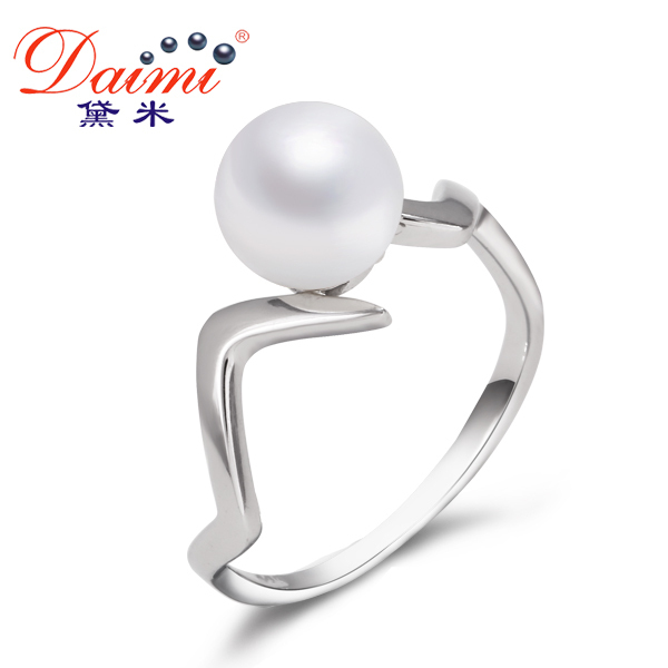 DAIMI Natural Pearl Ring Good Luster 7-8mm Freshwater Pearl 925 Sterling Silver Ring Free Shipping Fine Jewelry Rings For Women