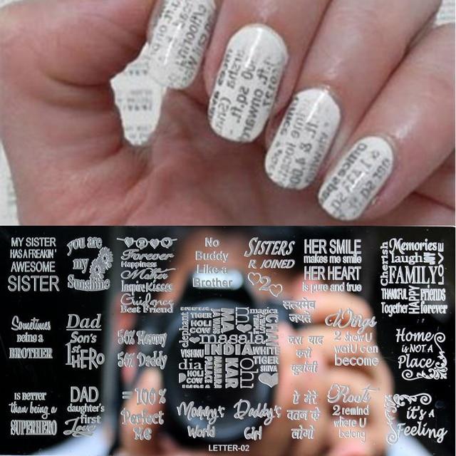 Englisch Brief Stil 1 Stucke Nail Stamping Platten Edelstahl Bild Art Manikure Template Nagel