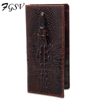 Vintage High Quality Genuine Leather Men Wallets Long Purse Crocodile Pattern Multi Function Cow Leather Card
