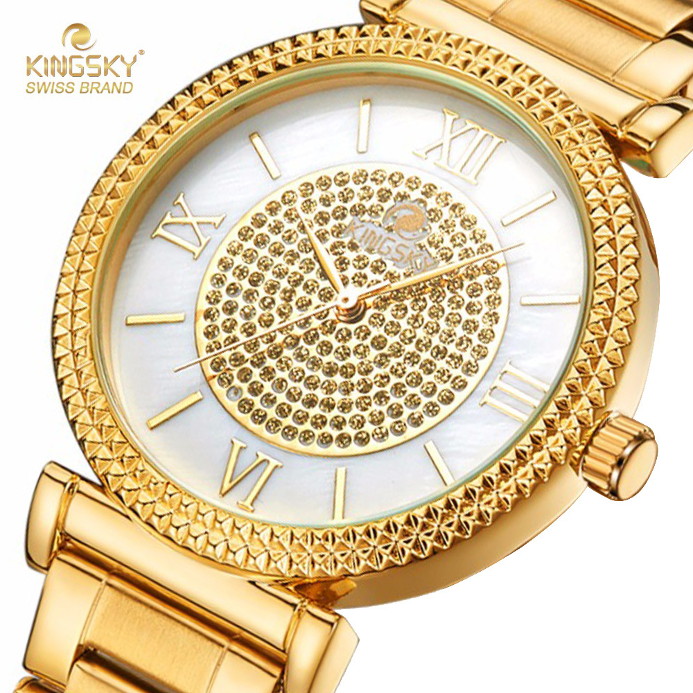 Kingsky Roman Numerals Lady Watch Stainless Steel Bracelet Gold Fashion Quartz Watches For Women G3136# 2017 New chic style roman numerals cuff bracelet for women
