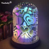 3D LED corazón lámpara Starburst noche luz fuegos artificiales huevo LED mesa noche lámpara Color cambio luces hogar dormitorio decorativo