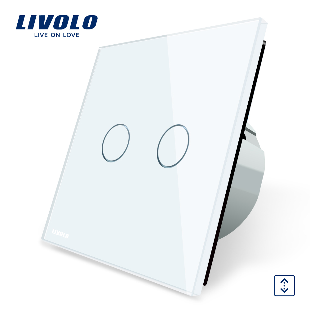Livolo Luxury W/B/G 3 Color Crystal Glass Panel Wall Switch, EU Standard Touch Control led Curtains Switch C702W-1/2/5 eu plug 1gang1way touch screen led dimmer light wall lamp switch not support livolo broadlink geeklink glass panel luxury switch