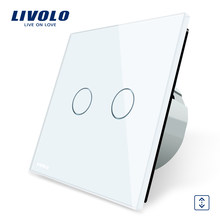 Livolo Luxury W/B/G 3 Color Crystal Glass Panel Wall Switch, EU Standard Touch Control led Curtains Switch C702W-1/2/5(China)