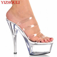 HOT Fashion 6 Inch Stiletto High Heel Shoes With Clear Platforms Strappy Sexy Shoes 15cm High Heels Crystal Slippers