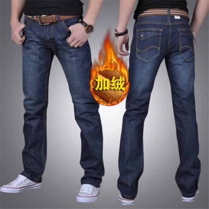 Fashion Winter   Jeans   For Men Blue Skinny Fit Elastic Thick Velvet Warm   Jeans   Men Stretch Fleece Plush Pants High Quality Homme