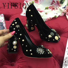 YIFSION New Spring Summer Retro Velvet Women Pumps Round Toe Slip On Pearl Metal Decoration Chunky High Heel Pumps Shoes Woman women s velvet med heel comforable mary jane pumps brand designer round toe spring new female cute footwear shoes for women sale