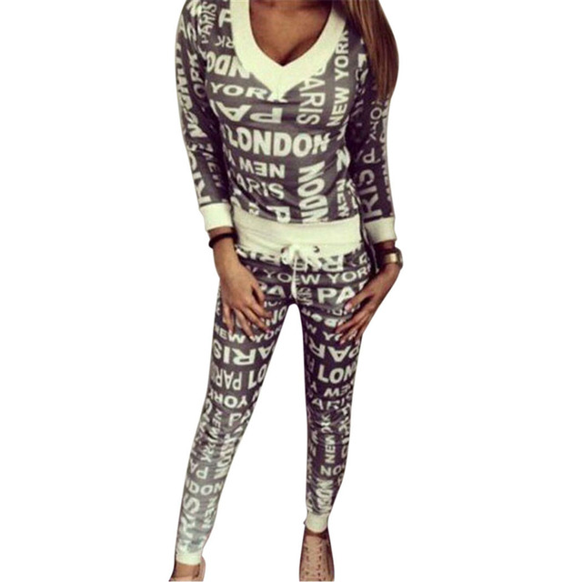 Autumn Print Pullover and Long Pants Loungewear Set Female 2 Piece Sets Casual Long Sleeve T Shirt  Pants