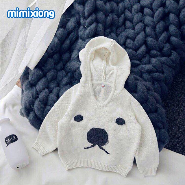 Cute Bear Sweater For Boy Hooded Long Sleeve Newborn Baby Pullovers White Knitted Infant Girls Knitwear Top Spring Children Wear