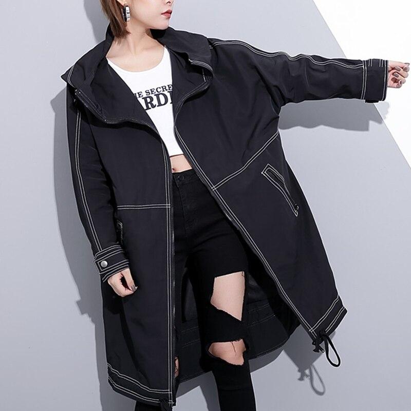 Blanche Personalité Q111 Trench Poches À Manteau Femmes Automne Harajuku Vestidos 2017 Grande Nouvelle Capuche Black Taille Etanche Ligne Noir Hiver ZXUqR