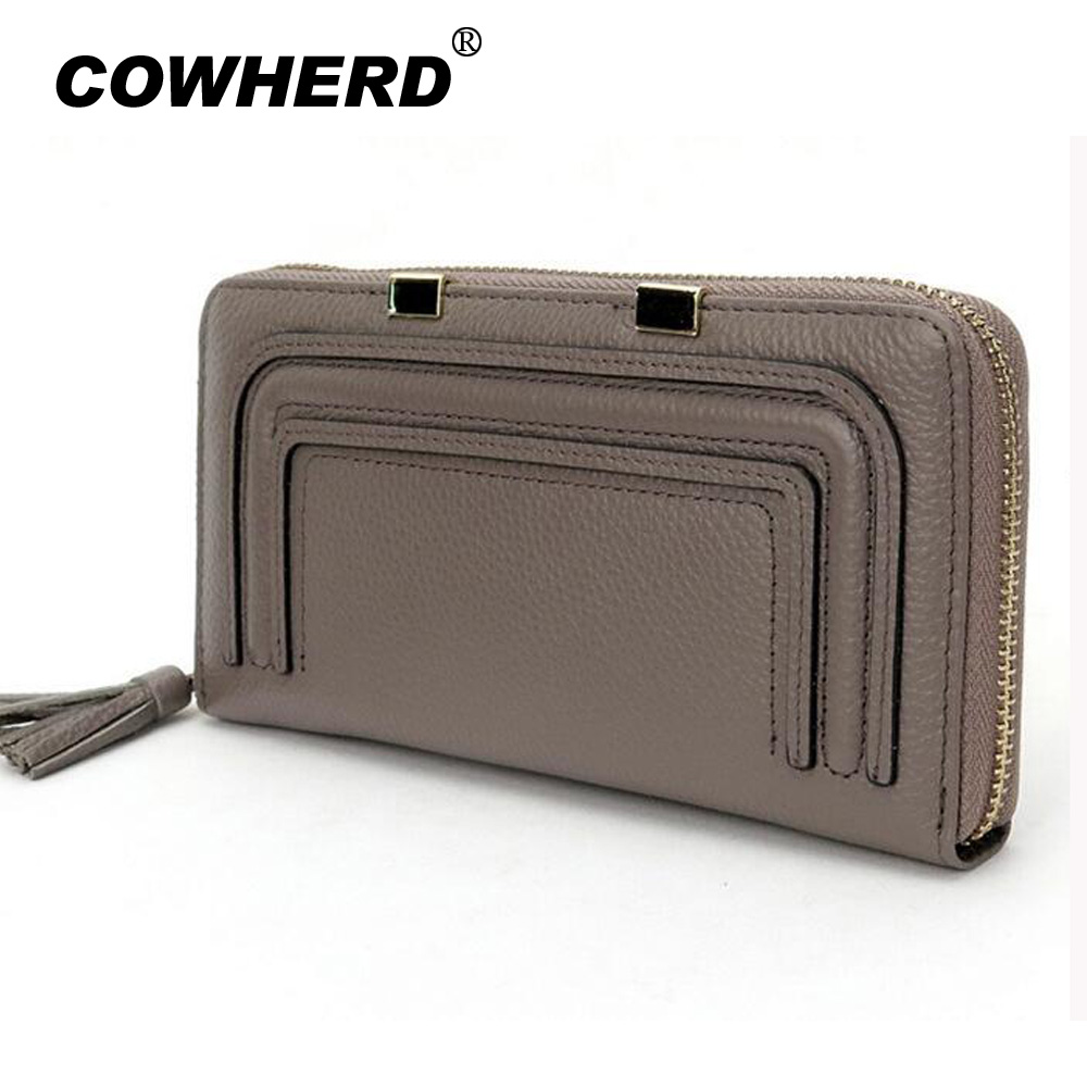 COWHERD Real Genuine Leather Women Wallets Brand Design High Quality 2017 Cell phone Card Holder Long Lady Wallet Purse Clutch real pu leather women wallets brand design high quality 2017 cell phone card holder long lady message wallet purse clutch