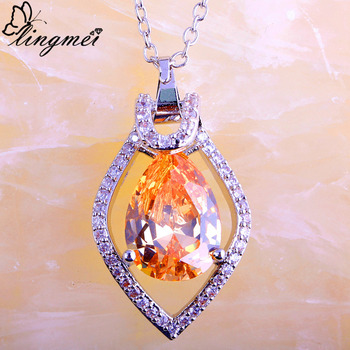 lingmei Wholesale Gorgeous Fashion Champagne White CZ Silver Color Necklace Pendant Women Graceful Jewelry Without Chain gorgeous golden citrine white cz engagement 925 gold silver pendant 26x15mm