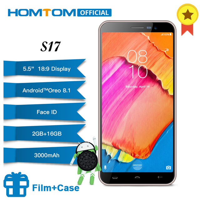 "HOMTOM S17 Android 8.1 Quad Core 5.5"" 18:9 Full Screen Smartphone Fingerprint Face Unlock 2GB RAM 16GB ROM 13MP+8MP Mobile Phone"