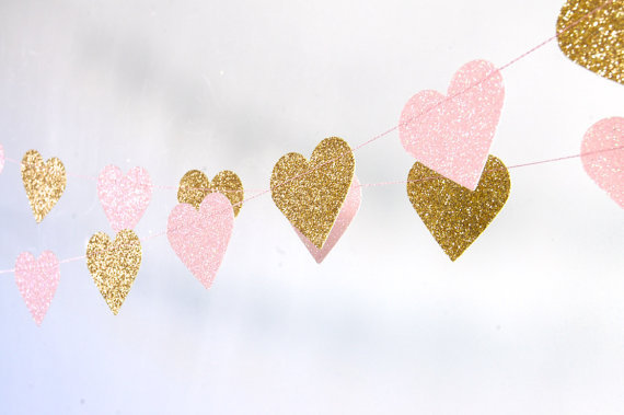 Excellent Glitter Garlands Gold Pink Hearts Birthday Banners Bachelorette Party Baby Bridal Shower Wedding Decorations