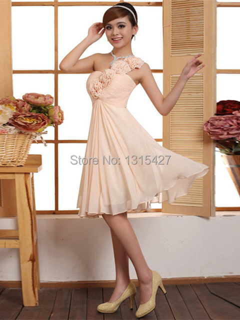 c0e479e8862 Sexy Chiffon One Shoulder Handmade Flower Models of Knee Evening Dresses  Prom Dresses Celebrity Dresses