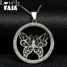 2019 Fashion Butterfly Crystal Stainless Steel Chain Necklaces Women Silver Color Pendants Jewelry cristales N18267