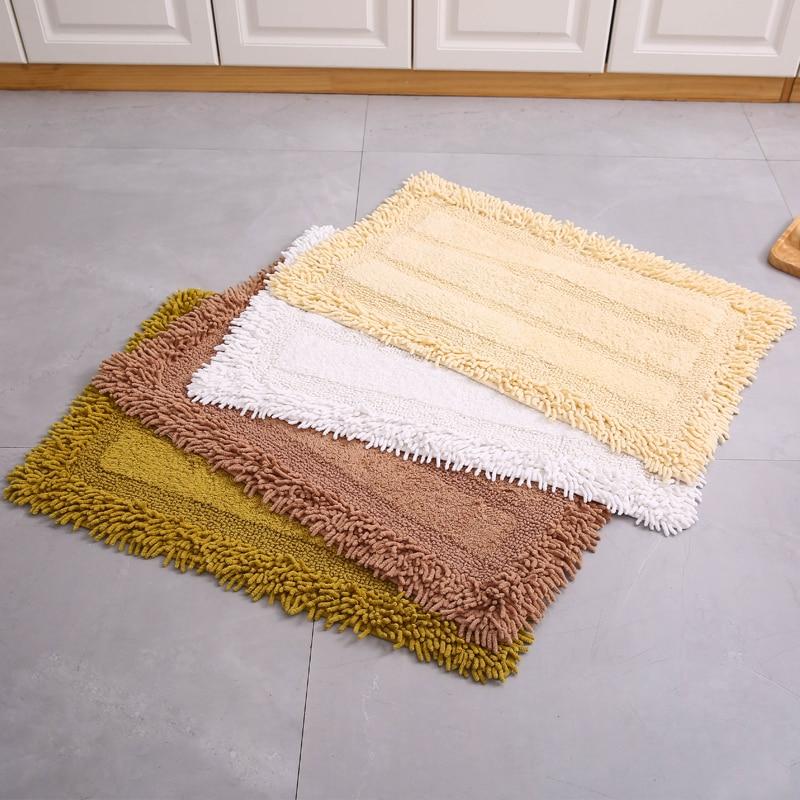 Chenille Cotton Floor Mat Mattress Non-slip Bedside Doormat Bath Mats Strip Foot Pad Toilet Rugs Water Absorption Kitchen Carpet