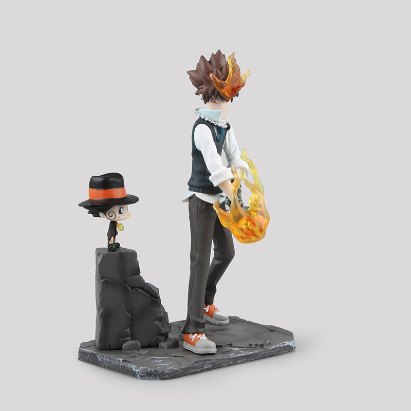 Stock sale Hitman Reborn Sawada Tsunayoshi Scenes PVC Action Figures Collection Model Toy Doll 19cm Free Shipping