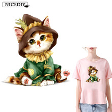 Nicediy Cute Cat Patches Iron on Heat Transfer Printing Vinyl Stickers for Clothes Thermal Transfers Appliques Washable