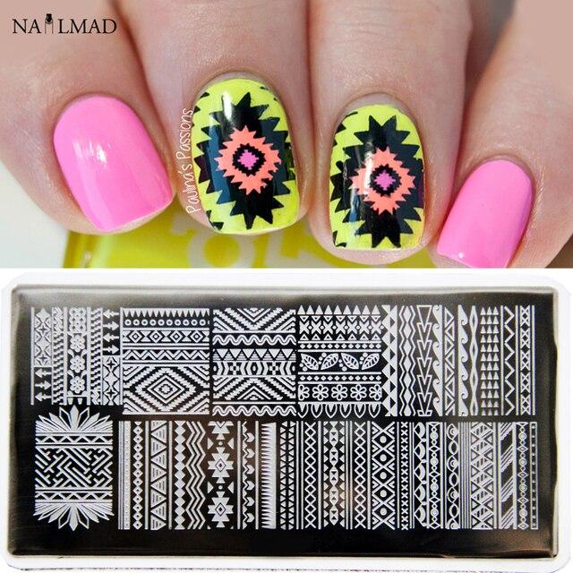 1pc Aztec Nail Art Stamp Plate Tribal Design Nail Image Plate Navaho