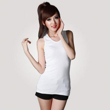 Hot Selling 1Piece Solid Color Slim Casual Women's Sleeveless O-Neck Tank Tops Female Clothings Tops Tee Ladies Vest Girls