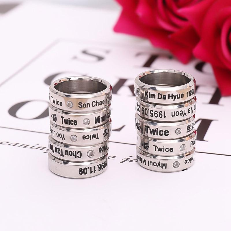 TWICE KPOP Signal Twice Mina Album Ring Momo Sina K POP Rings Accessories For Men And Women Female Male Send Lanyard|Rings| - AliExpress