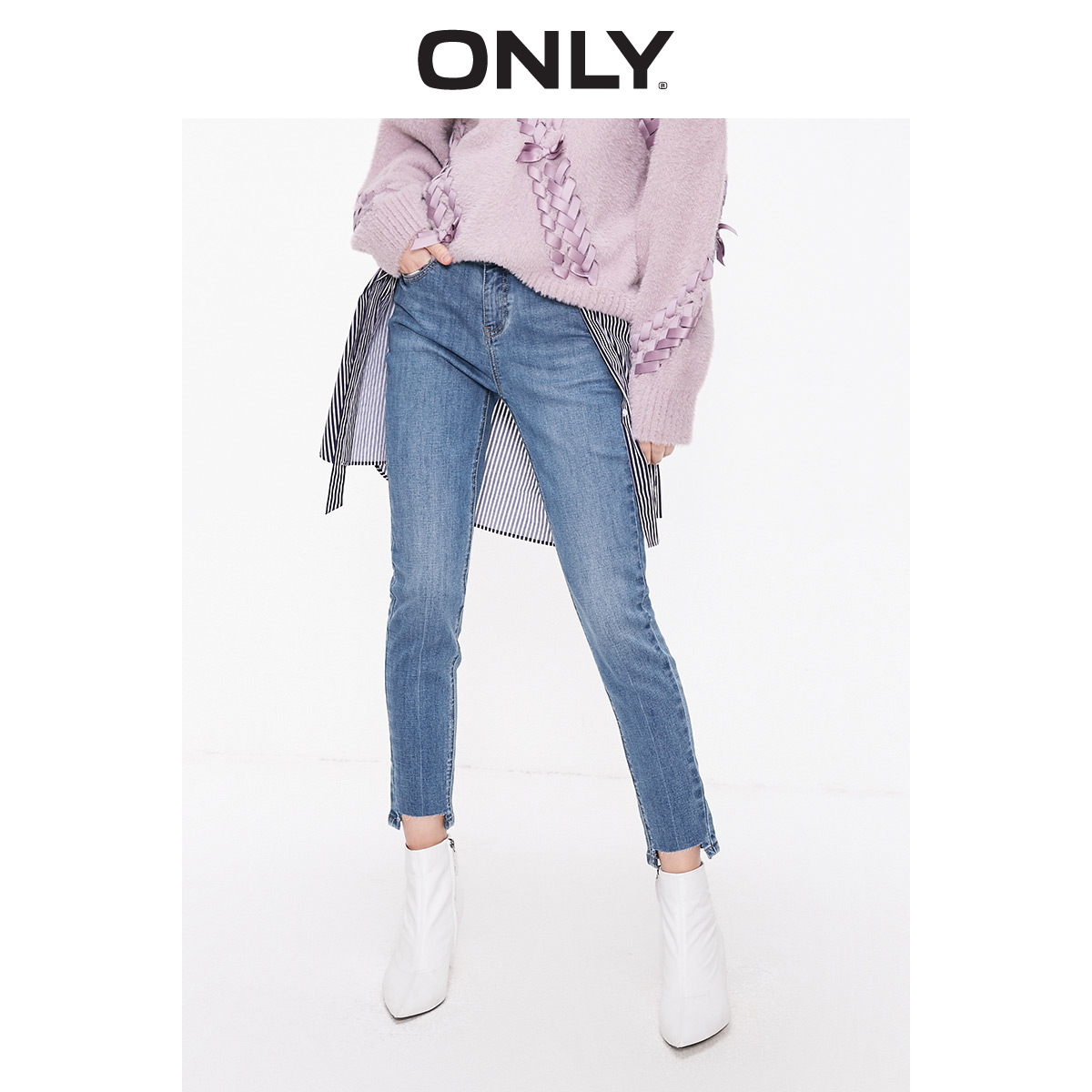 ONLY  Spring Summer New Women's Low-rise Skinny Crop Jeans |119149527
