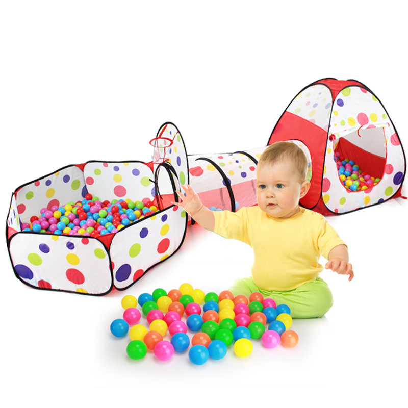 3 IN 1 Children's Tent Large House Game Room Baby Child Toy Indoor without Ocean Ball Pool Crawl Tunnel funny fishing game family child interactive fun desktop toy