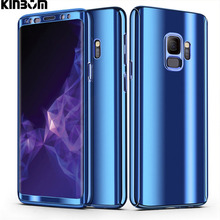 KINBOM For Samsung Galaxy S8 S9 Plus 360 Mirror Plating Phone Case S7 S7Edge Note8 Full Cover Protective Hard Cases