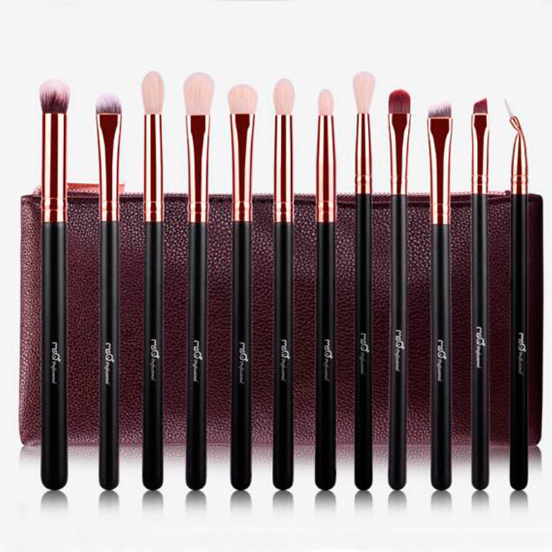 Woman's Professional 12 Pcs Make Up Tools Soft Cosmetic Beauty Makeup Brushes Set Kit + Bag Case hot sale 2016 soft beauty woolen 24 pcs cosmetic kit makeup brush set tools make up make up brush with case drop shipping 31