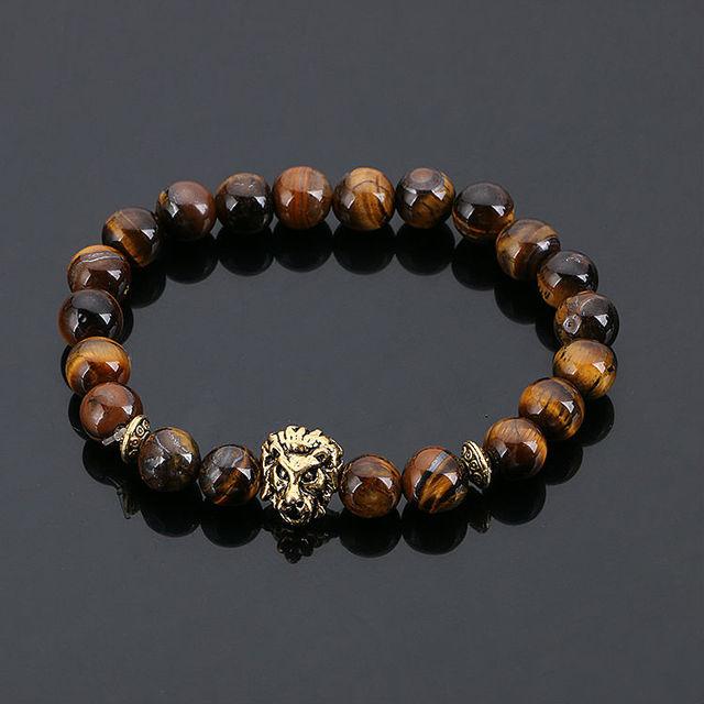 זהב תכשיטי אופנה בודהה ליאו האריה ראש צמיד שחור אבן לבה חרוזים צמידי Pulseras Hombre לגברים נשים