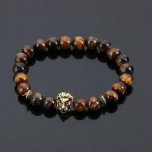 2b5bc6b34c44 Joyería de moda oro Buda Leo León cabeza pulsera negro Lava piedra cuentas Pulseras  Hombre para hombres y mujeres