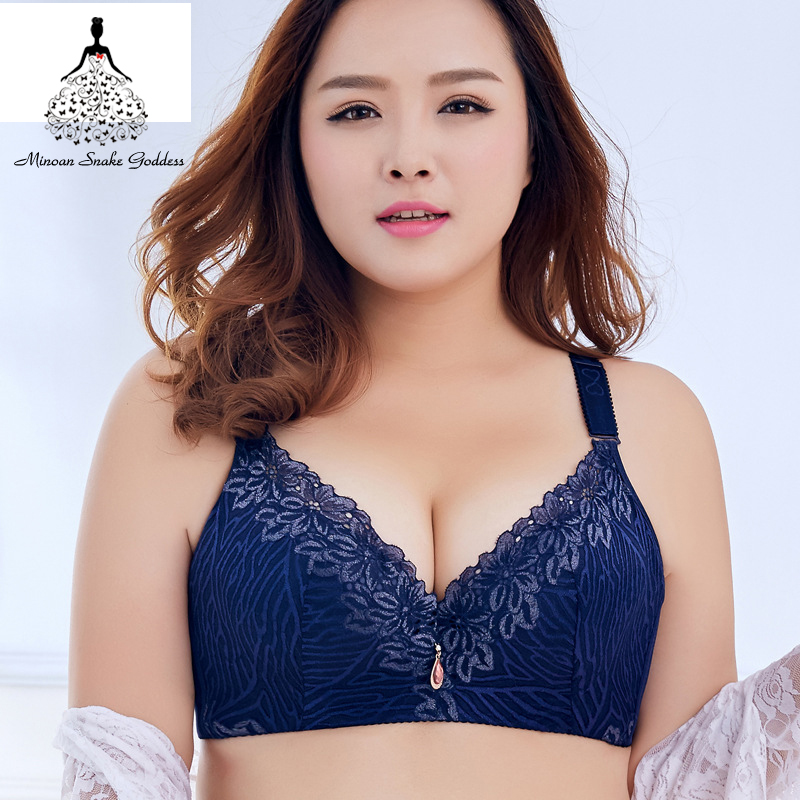 255a248b0e9 Plus Size Bra Women sexy Push Up Lace Brassiere Underwear D E Cup Large Cup  Bras Side Gathering Bralette Large Size lingerie