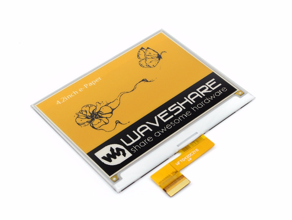 Waveshare 4.2inch E-Ink Raw Display 400x300 E-paper Three-color:Yellow Black White SPI No PCB No Backlight low consumption 4 2inch e ink raw display 400x300 4 2 e paper three display color red black white spi interface no pcb no backlight