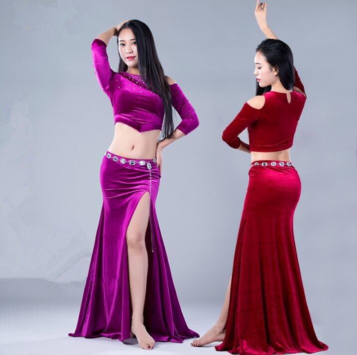 Autumn Winter Women 2 Piece Set Bellydance Costume Long Sleeve Velvet Blouse Side Slit Skirt Korea