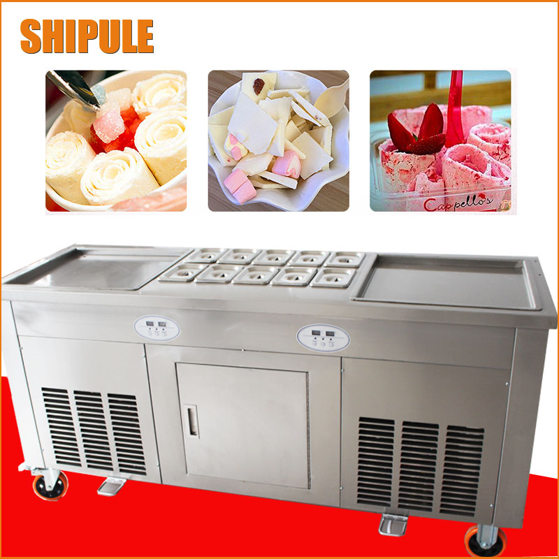 2+10 double square pan thailand fried ice roll machine digital control ice cream machine hot sale china thailand double 2 flat pan roll fry fried ice cream machine with two compressor