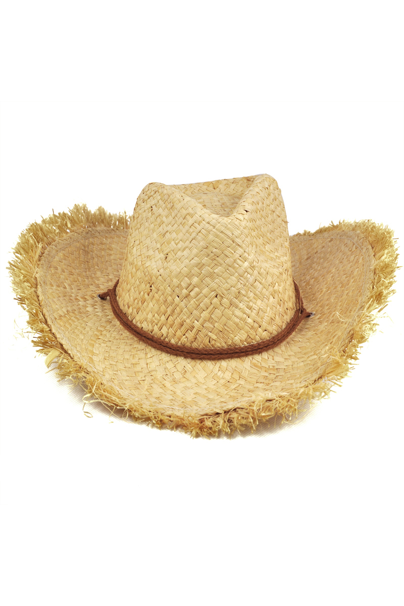 Fashion Cap Unisex Feathered Edge Natural Straw Cowboy Sun Hat Mens Womens Hot