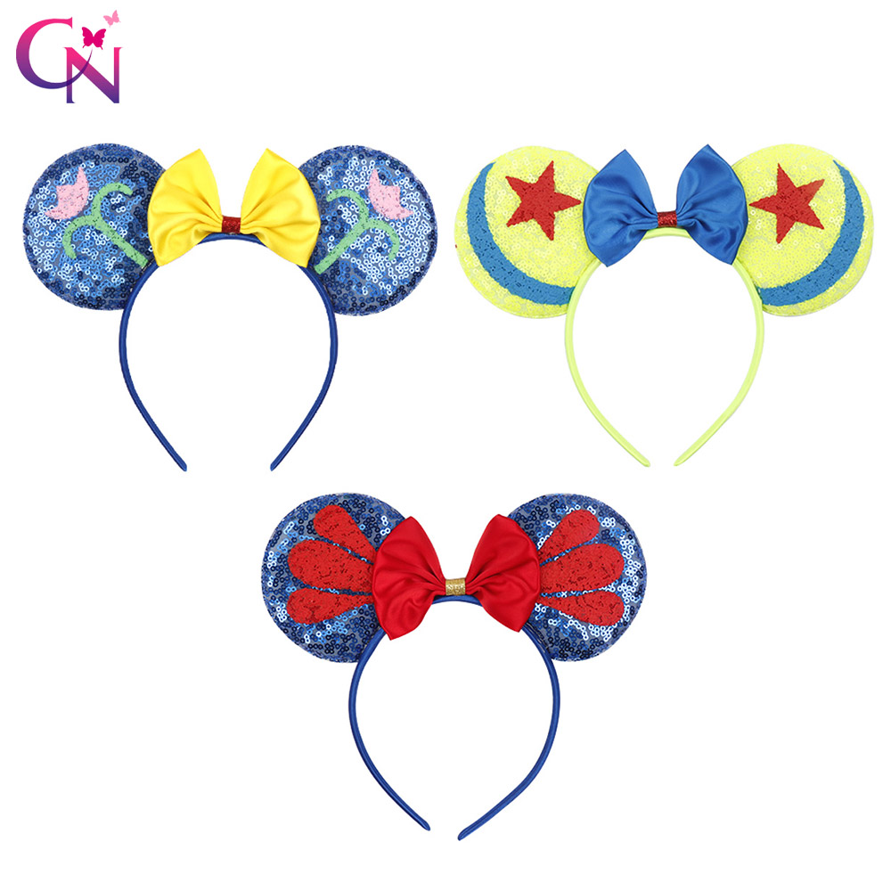 CN Hair Accessories for Girls 4th of July Minnie Mouse Ears Headband for Kids Sequin Hairbands Children Flag   Headwear