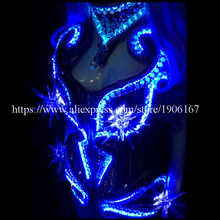 Led Luminous Sexy Lady Crystal Evening Dress Women Dance DS Costume Led Light Illuminate Stage Clothes Dance Wear Free Shipping