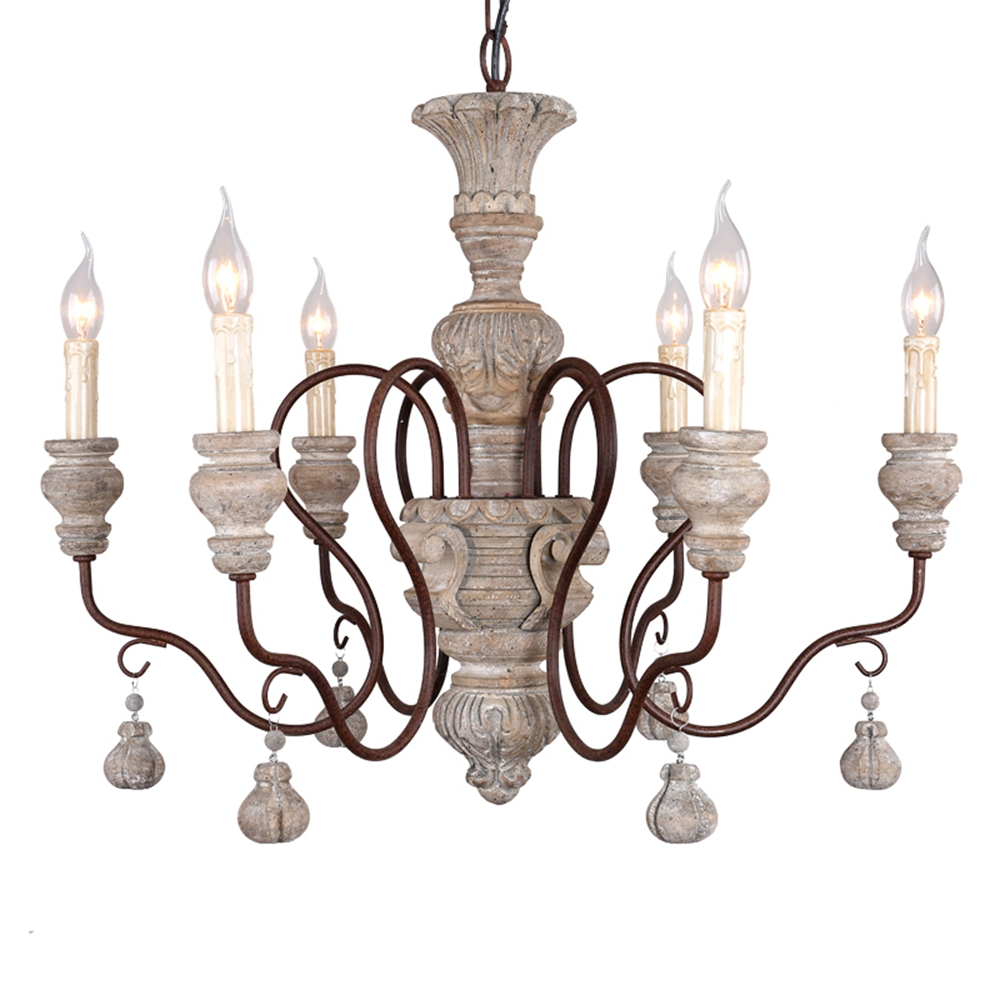 Wood Chandeliers For Dining Room: Vintage Wood Chandelier Lighting Rustic Candle Chandeliers