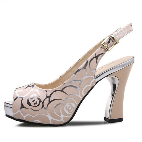 New women fashion pumps high heel office lady causal shoes for summer buckle strap black female square heel peep toe sandals Multan