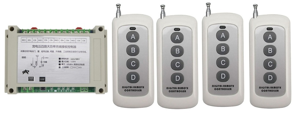 Smart Home 110V 220V 380V 4CH 30A 4CH Wireless Remote Control Switches Relay Output Radio RF 4*Transmitter And 315Mhz/433Mhz